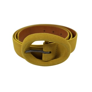 Orciani Yellow Leather Women's Round Buckle 34-inch Belt