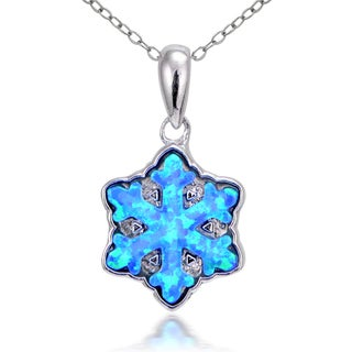 Glitzy Rocks Sterling Silver Created Opal Snowflakes Necklace