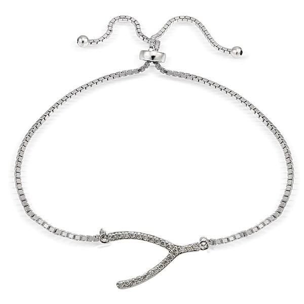 Icz Stonez Silver Cubic Zirconia Wish Bone Adjustable Bolo Bracelet