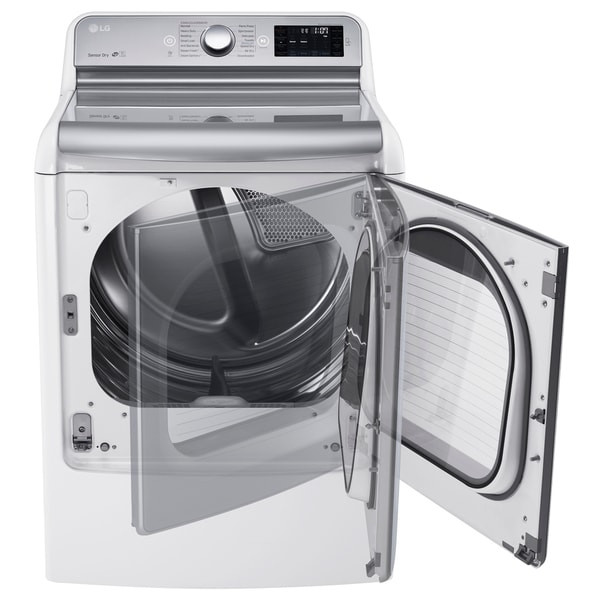 LG DLEX7700WE 9.0 Cu. Ft. Mega Large Capacity TurboSteam Dryer With EasyLoad Door in White
