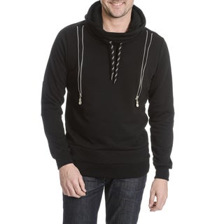 SOB Shades of Black Men's Zip Detail Black Pullover Hoodie