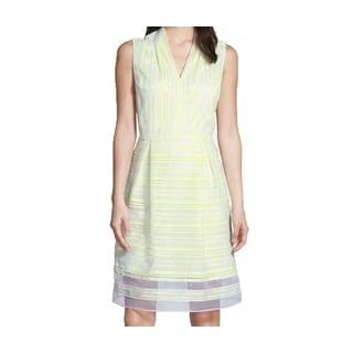 Tahari Sully Yellow and White Striped Dress