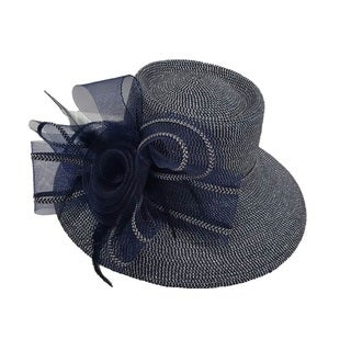 Swan Hat P.P Braid Metallic Navy Church/ Dressy Hat