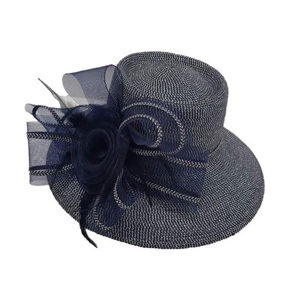 Swan Hat P.P Braid Metallic Navy Church/ Dressy Hat