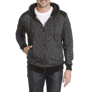 SOB Shades of Black Men's Marled with Nylon Patch Zip Hoodie