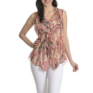 Sunny Leigh Women's Abstract Print Cascading Ruffle Top