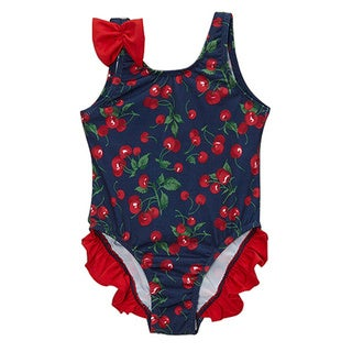 Dippin' Daisy's Infant and Toddler's Blue Cherry One Piece Swimdress with Ruffles