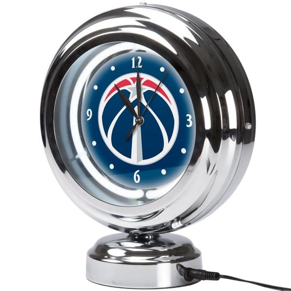 Washington Wizards NBA Chrome Retro Style Tabletop Neon Clock 17805004