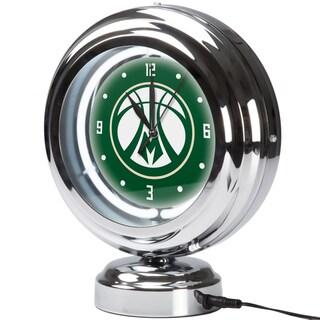 Milwaukee Bucks NBA Chrome Retro Style Tabletop Neon Clock