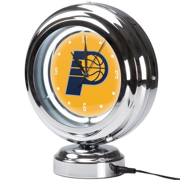 Indiana Pacers NBA Chrome Retro Style Tabletop Neon Clock 17805052