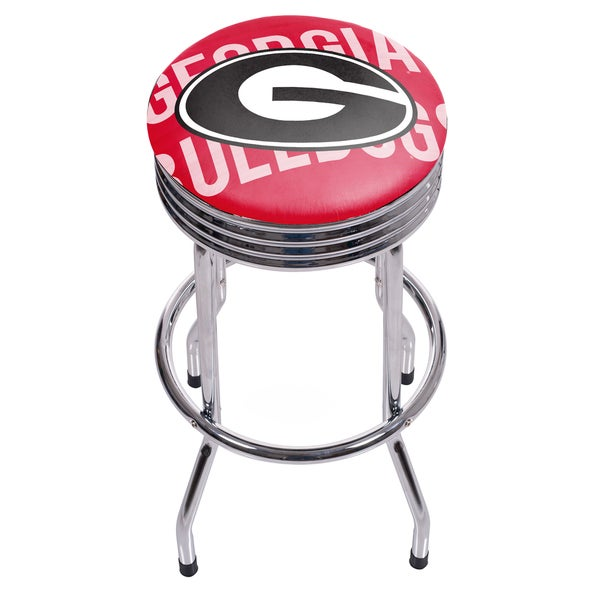 University of Georgia Chrome Ribbed Bar Stool - Wordmark 17805116