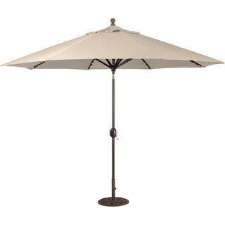 Galtech 9 ft. Auto Tilt LED Umbrella with Antique Bronze Pole and Sunbrella Shade