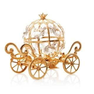 24k Goldplated Mini Cinderella Inspired Pumpkin Coach Made with Genuine Matashi Crystals