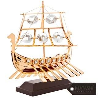 24k Goldplated Viking Ship Made With Genuine Matashi Crystals