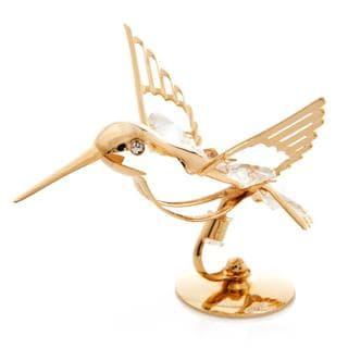 24k Goldplated Hummingbird Table Top Made with Genuine Matashi Crystals
