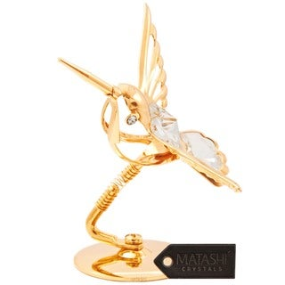24K Gold Hummingbird Table Top Made with Genuine Matashi Crystals