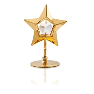 4th of July Special: 24k Goldplated Polished Star Bobble Table/Desk Top Made with Genuine Matashi Crystals