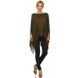 JED Women's Fringe Batwing Cape Top