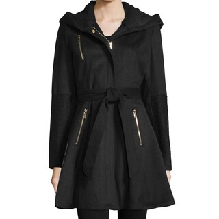 Laundry By Shelli Segal Black Wool Fit and Flare Coat