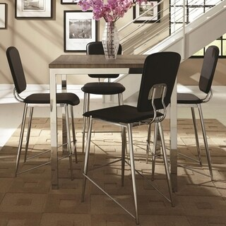 Silvertorre Chrome Modern Deign 5-piece Counter Height Dining Set