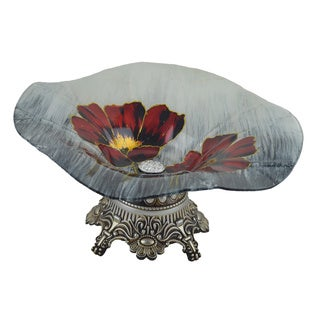 14 Inch Floral Glass Centerpiece with Base