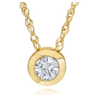 14K Yellow Gold 1/4ct TDW Eco-Friendly Lab Grown Diamond Bezel Solitaire Pendant with Chain (G-H, VS2-SI1)