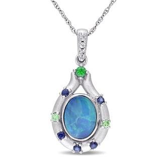 Miadora 10k White Gold Oval-cut Australian Green Opal White and Blue Sapphire and Tsavorite Bezel-set Necklace