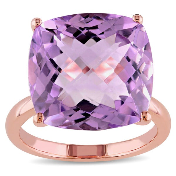 Miadora 14k Rose Gold Cushion-cut Pink Amethyst Cocktail Ring
