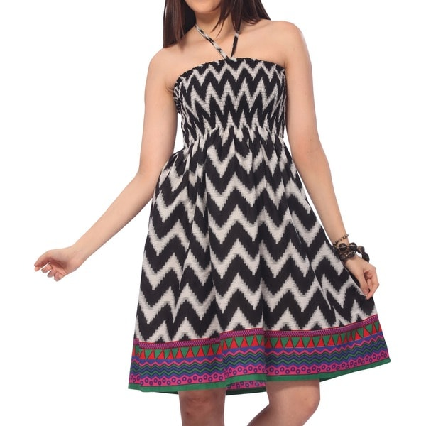 La Leela 100-percent Cotton Zig Zag Smocked Halter Neck Backless Short Tube Dress Maxi Skirt