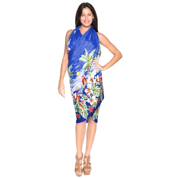La Leela Likre Beach View Palm Tree Swimsuit Sarong Wrap Royal Blue Plus Size Cover up