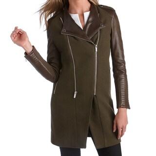 BcbgMaxAzria Army Green Double Zip Leather Sleeve Coat