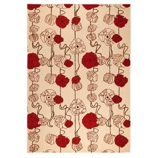 Hand-Tufted Indo Deco Sand/ Red Rug (5'2 x 7'6)