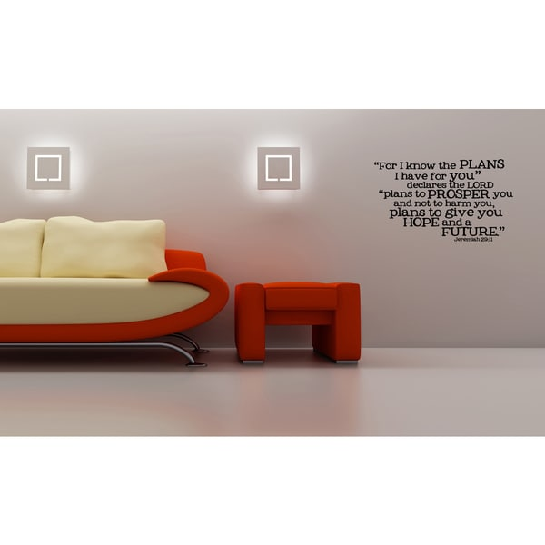 Inscription For I Know The Plans I Have For You - Jeremiah 2911 Wall Art Sticker Decal