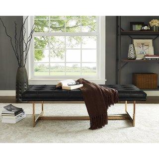 Oppland Black Upholstered Gold Bench
