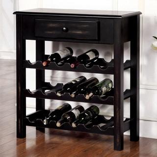Furniture of America Barth Antique Black Storage Wine Rack