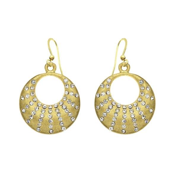 Isla Simone - Gold Tone Crystal Crescent Earring
