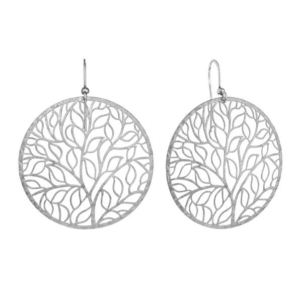 Isla Simone Silvertone Giving Tree Earrings