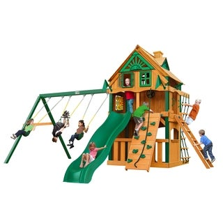 Gorilla Playsets Chateau Clubhouse Treehouse Swing Set with Fort Add-On and Timber Shield