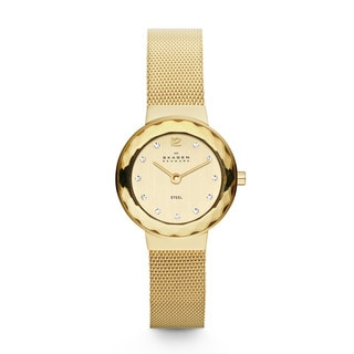 Skagen Women's Goldtone Stainless Steel Mesh Crystal-accented Champagne Dial Watch