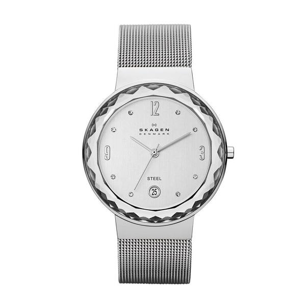 Skagen Women's Stainless Steel Mesh Leonora Silver Dial Watch