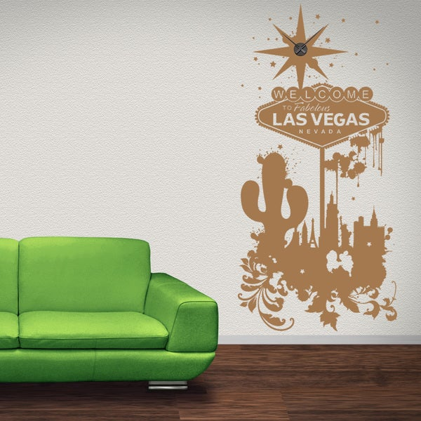 Welcome To Las Vegas Wall Clock Vinyl Decor Wall Art