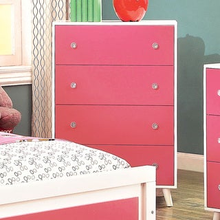 Furniture of America Kacie Modern Pink/White Youth 4-drawer Chest