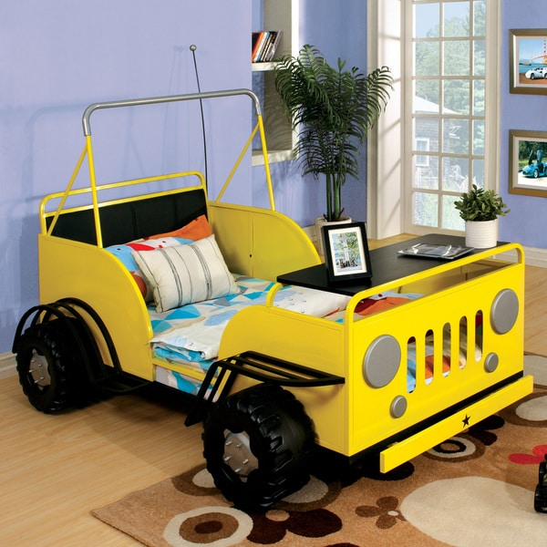 Furniture of America Jungler Metal Off-Road Vehicle Yellow Twin Bed 17840501
