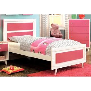 Furniture of America Kacie Modern Pink/White Panel Youth Platform Bed