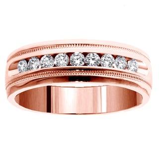 14k Rose Gold Men's 1/2ct TDW Brilliant-cut Diamond Ring (G-H, SI1-SI2)