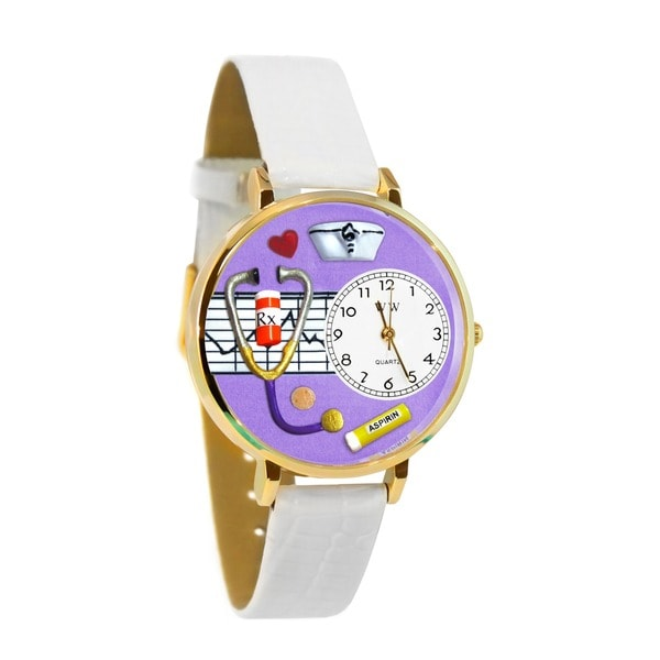 Nurse Purple Watch in Gold