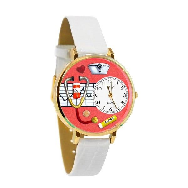 Whimsical Watches Nurse Red White Skin Leather And Silvertone Watch #U0620040