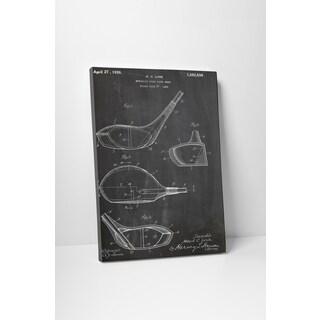 Patent Prints 'Metallic Golf Club Head' Gallery Wrapped Canvas Wall Art