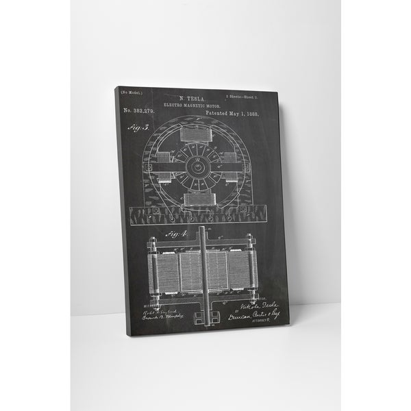 Patent Prints 'Electro Magnetic Motor' Gallery Wrapped Canvas Wall Art