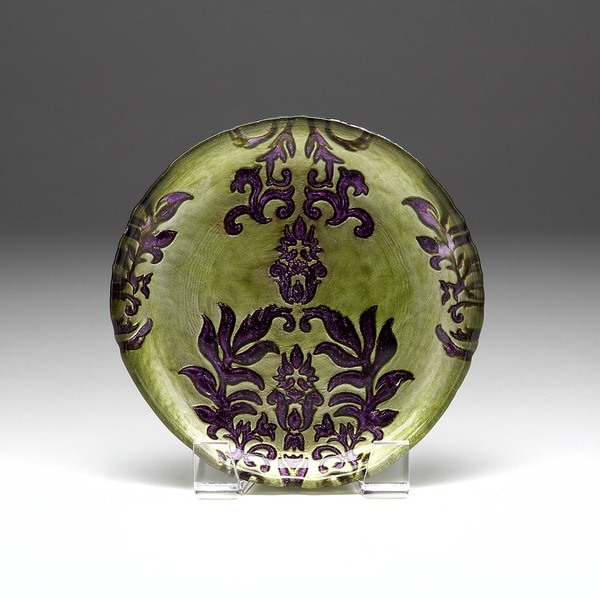 Damask green purple canape plate gay times for Canape plate definition
